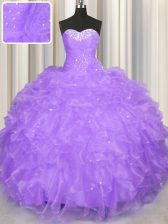 Sweet Lavender Sweetheart Neckline Beading and Ruffles Quince Ball Gowns Sleeveless Lace Up