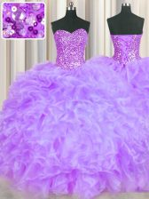 Chic Lavender Sweetheart Lace Up Beading and Ruffles Quinceanera Gown Sleeveless