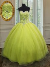 Sophisticated Floor Length Yellow Green Quinceanera Gown Sweetheart Sleeveless Lace Up