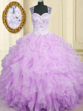 Straps Sleeveless Organza Sweet 16 Quinceanera Dress Beading and Ruffles Zipper