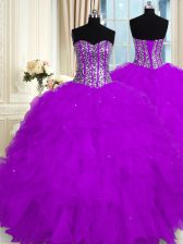 Excellent Purple Ball Gowns Organza Sweetheart Sleeveless Beading and Ruffles Floor Length Lace Up Ball Gown Prom Dress