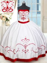 Comfortable Satin Strapless Sleeveless Lace Up Beading and Embroidery Quinceanera Gown in White and Red