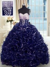 Delicate Brush Train Ball Gowns Quinceanera Gown Blue Sweetheart Organza Sleeveless With Train Lace Up