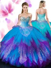 Spectacular Multi-color Sleeveless Tulle Lace Up Sweet 16 Dresses for Military Ball and Sweet 16 and Quinceanera