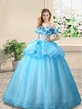 Glittering Off the Shoulder Baby Blue Sleeveless Organza Lace Up 15 Quinceanera Dress for Prom
