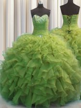 Trendy Beaded Bust Floor Length Olive Green Ball Gown Prom Dress Sweetheart Sleeveless Lace Up