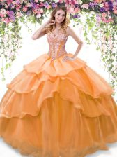 Elegant Beading and Ruffled Layers Quinceanera Gowns Orange Lace Up Sleeveless Floor Length