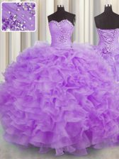 New Arrival Lilac Organza Lace Up Sweetheart Sleeveless Floor Length 15th Birthday Dress Beading and Ruffles