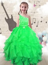 Gorgeous One Shoulder Floor Length Apple Green Little Girls Pageant Gowns Organza Sleeveless Beading and Ruffles