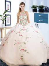 Artistic Halter Top Floor Length Lace Up Vestidos de Quinceanera White for Military Ball and Sweet 16 and Quinceanera with Embroidery