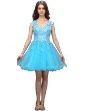 Luxury Aqua Blue A-line Appliques Dress for Prom Backless Organza Sleeveless Mini Length