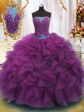 Strapless Sleeveless Lace Up Ball Gown Prom Dress Purple Organza