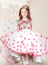 Graceful Scoop White And Red Tulle Zipper Flower Girl Dresses for Less Sleeveless High Low Lace and Appliques
