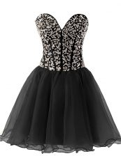 Customized Black Sweetheart Neckline Beading Sleeveless Lace Up