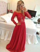 Sweet Off the Shoulder Red A-line Appliques Prom Dress Zipper Chiffon Long Sleeves Floor Length