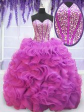 Cute Purple Ball Gowns Organza Sweetheart Sleeveless Beading and Ruffles Lace Up Quinceanera Gowns Brush Train