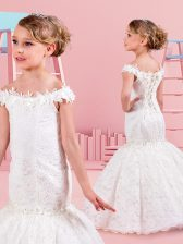 Latest Mermaid Off the Shoulder Sleeveless Lace Up Floor Length Lace and Appliques Flower Girl Dress