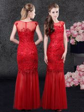Mermaid Tulle Scoop Cap Sleeves Zipper Lace Prom Evening Gown in Red