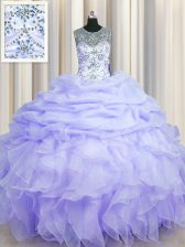 Luxury See Through Scoop Sleeveless Beading and Ruffles and Pick Ups Lace Up Vestidos de Quinceanera