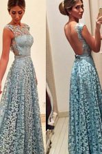 Chic Bateau Sleeveless Backless Prom Gown Turquoise Lace