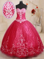 Attractive Floor Length Coral Red Ball Gown Prom Dress Tulle Sleeveless Beading and Appliques and Embroidery