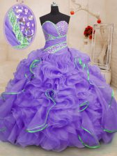 Shining Sleeveless Brush Train Beading and Ruffles Lace Up Quinceanera Gowns