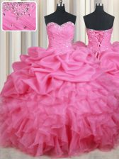 Flirting Rose Pink Ball Gowns Beading and Ruffles and Pick Ups Ball Gown Prom Dress Lace Up Organza Sleeveless Floor Length