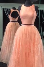 Scoop Sleeveless Tulle Homecoming Dress Beading and Lace Backless
