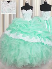Captivating Pick Ups Ball Gowns 15th Birthday Dress Apple Green Sweetheart Organza Sleeveless Floor Length Lace Up
