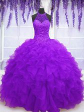 Purple Ball Gowns High-neck Sleeveless Organza Floor Length Lace Up Beading and Ruffles Ball Gown Prom Dress