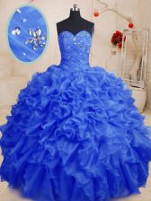 Fashionable Floor Length Royal Blue Quince Ball Gowns Organza Sleeveless Beading and Ruffles