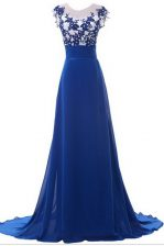 Nice Scoop Blue Zipper Evening Dress Beading and Appliques Sleeveless With Brush Train