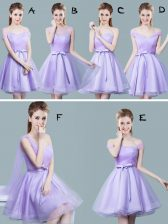 Artistic Straps Cap Sleeves Tulle Dama Dress for Quinceanera Ruching and Bowknot Zipper
