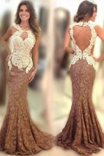 Super Mermaid Scoop Lace Sleeveless Prom Evening Gown Sweep Train and Appliques