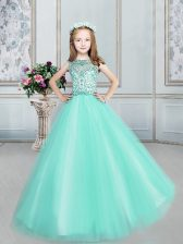 Perfect Bateau Sleeveless Tulle Little Girls Pageant Gowns Beading Lace Up