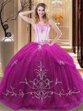 Fuchsia Lace Up Strapless Embroidery 15 Quinceanera Dress Tulle Sleeveless