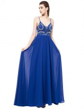 Royal Blue Backless Prom Dress Beading Sleeveless With Train Sweep Train