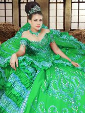 Free and Easy Satin Off The Shoulder Sleeveless Lace Up Embroidery Quinceanera Dress in