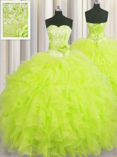 Custom Made Handcrafted Flower Yellow Green Sleeveless Beading and Ruffles and Hand Made Flower Floor Length Quince Ball Gowns