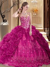 New Arrival Pick Ups Ball Gowns Sleeveless Fuchsia Quinceanera Dresses Court Train Lace Up