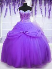 Noble Lavender Sweetheart Neckline Beading and Bowknot Sweet 16 Dress Sleeveless Lace Up