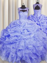 Suitable Scoop Pick Ups Blue Sleeveless Organza Lace Up Sweet 16 Quinceanera Dress for Military Ball and Sweet 16 and Quinceanera