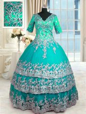 Ruffled Ball Gowns Quinceanera Gown Turquoise V-neck Satin Half Sleeves Floor Length Zipper