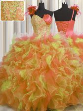 Handcrafted Flower Multi-color One Shoulder Neckline Beading and Ruffles and Hand Made Flower Quinceanera Dress Sleeveless Lace Up