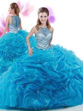 Baby Blue Zipper Quinceanera Gown Ruffles Sleeveless Court Train