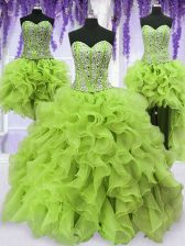 Deluxe Four Piece Sleeveless Organza Floor Length Lace Up 15th Birthday Dress in Yellow Green with Beading and Ruffles