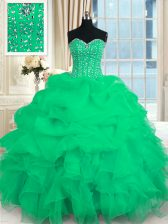 Turquoise Sleeveless Floor Length Beading and Ruffles Lace Up Vestidos de Quinceanera