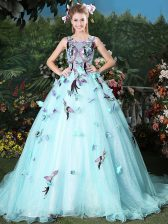 Charming Scoop Light Blue Quinceanera Gown Organza Brush Train Sleeveless Appliques