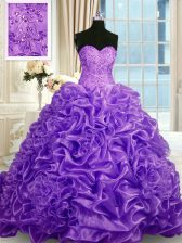 Artistic Sleeveless Sweep Train Beading and Pick Ups Lace Up 15 Quinceanera Dress