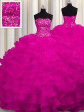 Sleeveless Organza With Train Sweep Train Lace Up Sweet 16 Dress in Fuchsia with Beading and Ruffles